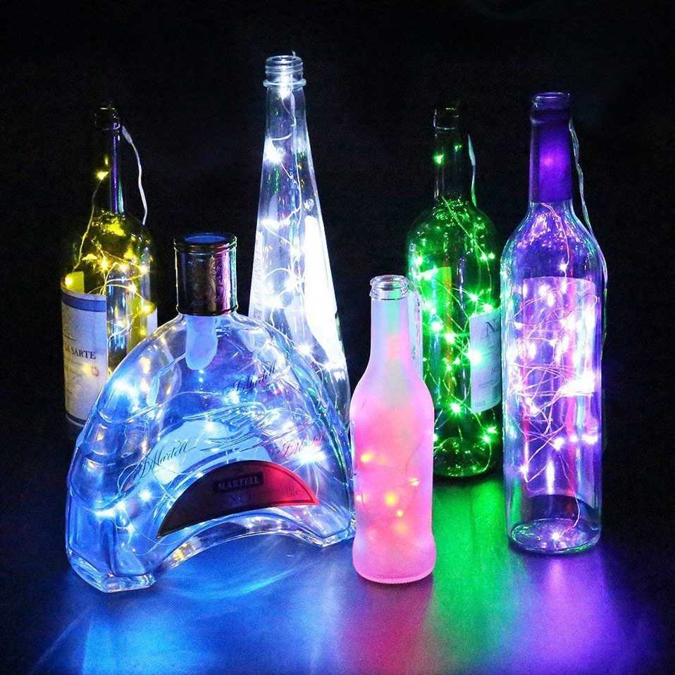 Cork Shaped Wine Bottle Lights 1m/2m DIY LED String Light with Bottle Stopper Decoration for Halloween Christmas Holiday Party
