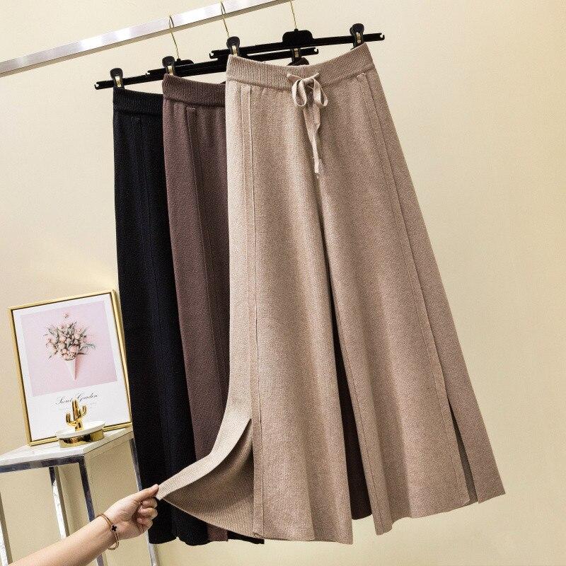 Women 2019 Loose Pure Casual Soft   Pants   Autumn Winter Knit Cashmere Sweater   Wide     Leg     Pants   Elastic Waist Bow Tie Split Trousers