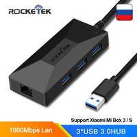 Rocketek USB 3.0 à Rj45 Hub Gigabit Ethernet adaptateur 1000Mbps pour Xiao mi mi Box 3/S 4 4c se Android TV décodeur carte réseau Lan