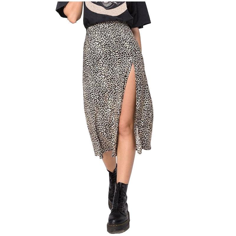 Fashion Split A-Line Skirt Women Leopard Print High Waist Skirts Female Summer Streetwear Sexy Midi Skirt Ladies Bottoms