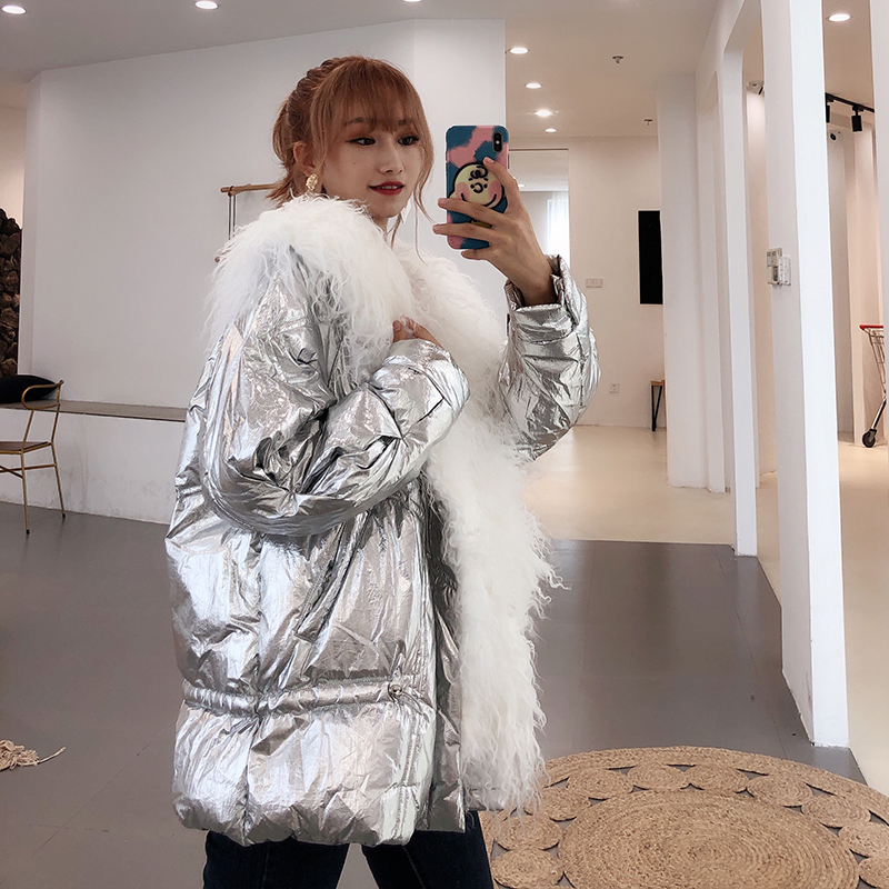 Korean Women Fur Collar Mental Color   Down   Jacket High Street Thick Warm Outwear Female   Down     Coats   with Real Fur