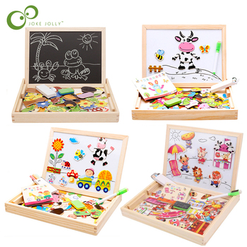 100+PCS Wooden Magnetic Puzzle Figure/Animals/ Vehicle /Circus Drawing Board 5 styles Box Educational Toys for Children Gift ZXH 1