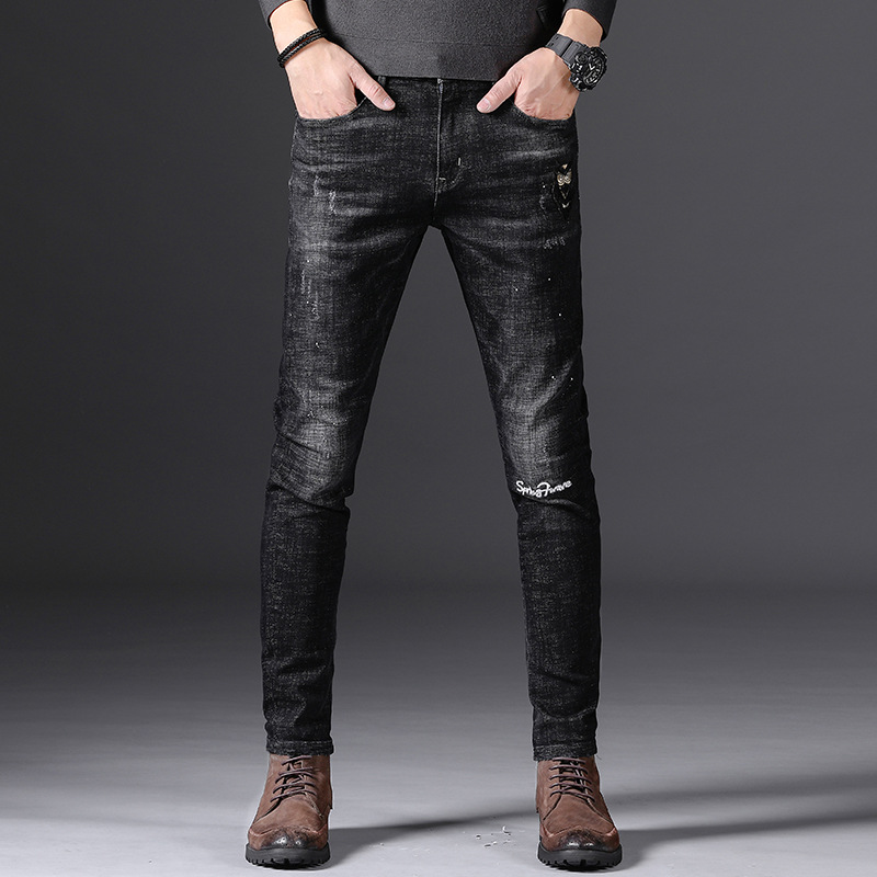 MEN'S Jeans New Style Black Embroidery Elasticity Slim Fit Skinny Pants Autumn And Winter Men'S Wear Simple Casual Long Pants Me