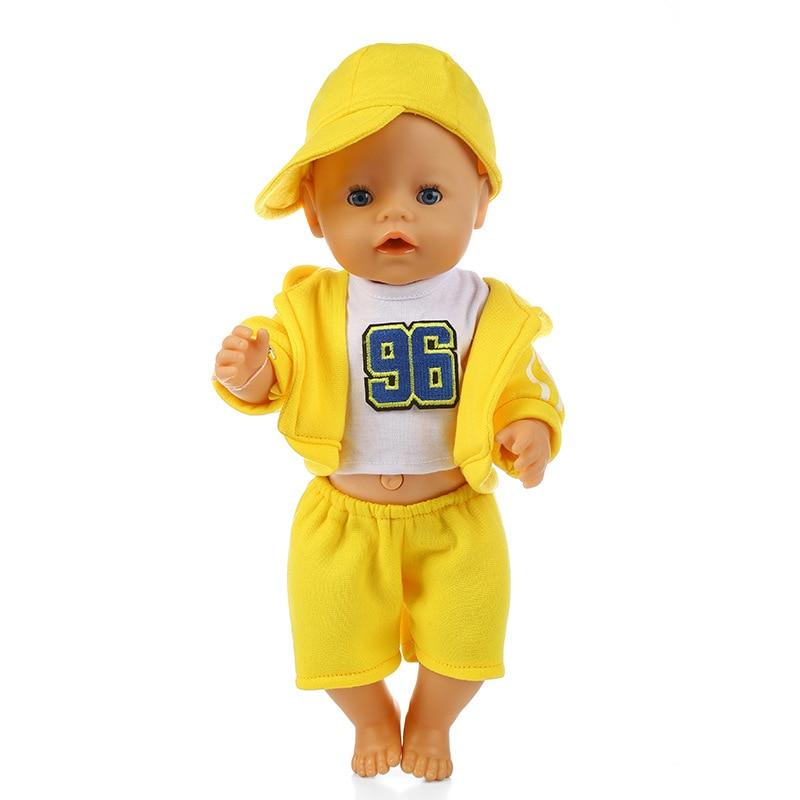 Oulensy 1set 18 Pouces Sport Manteau Shirt Pantalon Casquette De Baseball pour 43cm Fille Gar/çon V/êtements Set Couleur Al/éatoire