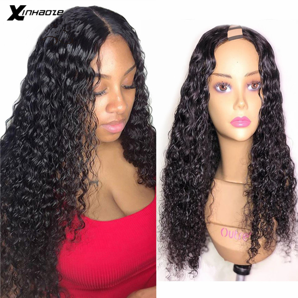 Curly U Part Human Hair Wig 150 Density Brazilian Remy Human Hair Upart Wig Water Wave Curly Middle Part U Shape Wig Xinhaoze