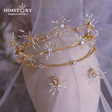 Himstory European Three-layer Baroque Cubic Crystal Wedding Tiaras Crowns Princess Headbands Hairband Tiara Hair Accessory