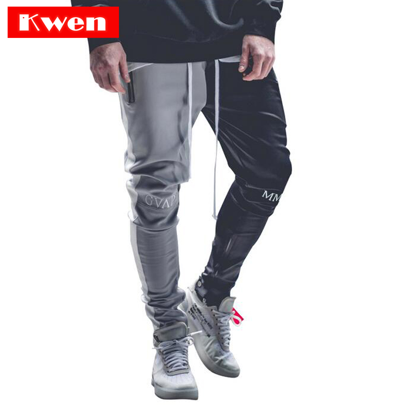 2019 July  Stitching Color Men Bodybuilding Gyms Pants Runners Clothing Sweatpants Pant Side Stripe Hip Pop Style Streetwear