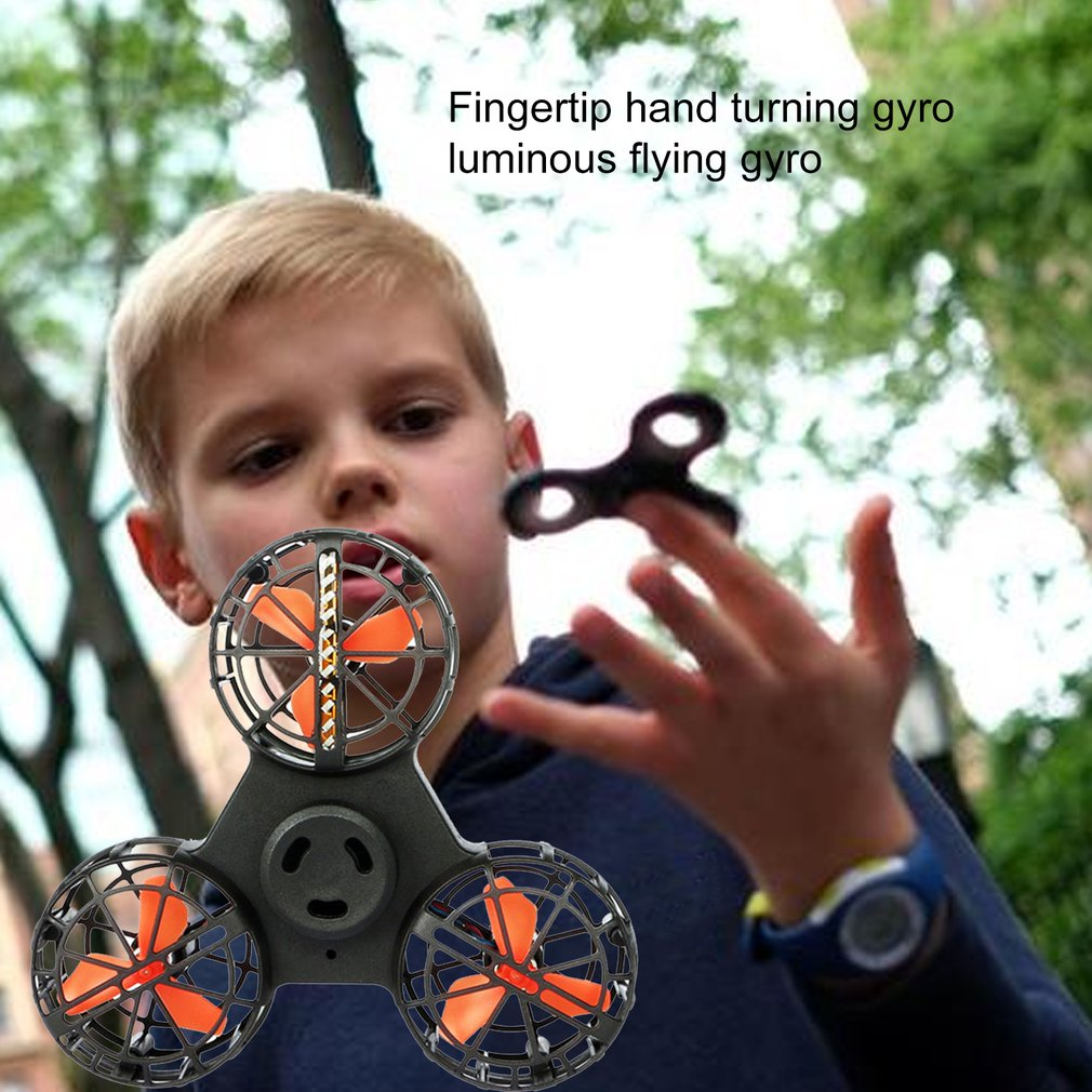 Luminous Charging Continuous Play Fingertip Hand Turn Rolling Toy Illuminating Flying Holiday Gift Aerial Spinner