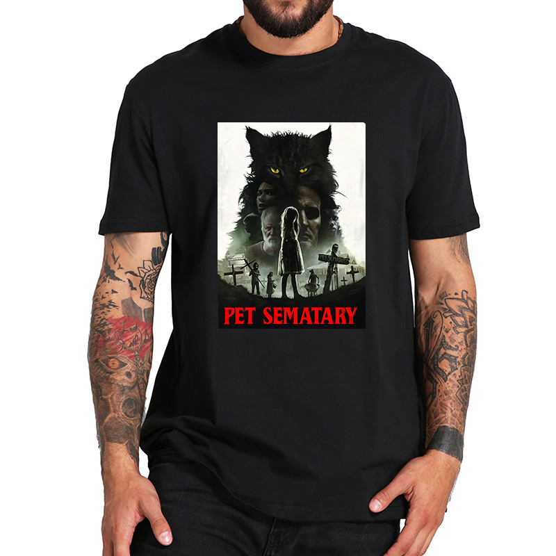 <font><b>Pet</b></font> <font><b>Sematary</b></font> TShirt Horror Movie Print 100% Cotton Crew Neck High Quality Short Sleeve Hipster Cat Tee Tops image