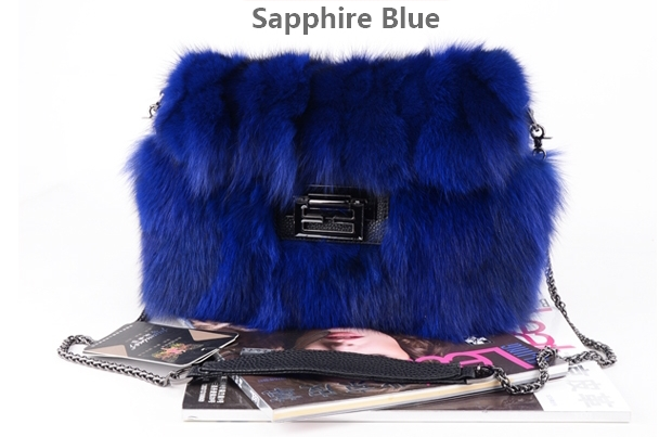 Real Fox Fur Handbags Bag Grey Fur Bag Pathwork Real Fur Handbag Blue Handbag Wine Fur Bag Fashion Handbag