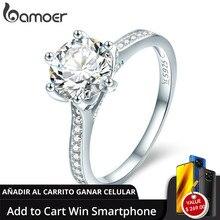 [追加カートに勝利電話] bamoer高品質925スターリングシルバー結婚指輪プリンセススクエアcz指輪女性のためのSCR342