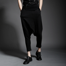 Summer fashion youth elastic waist drop-off pants nightclub trendy men low crotch pants personality loose casual nine-point pant