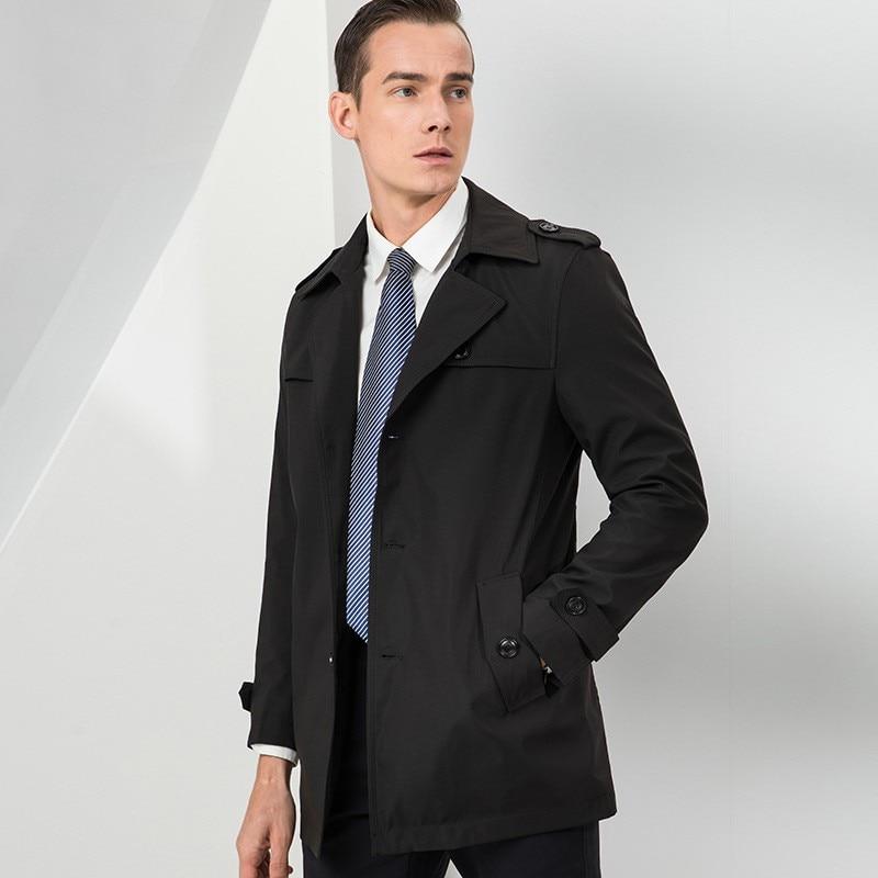 Printemps automne nouvelle marque à manches longues simple boutonnage revers hommes manteaux solides longueur moyenne en vrac décontracté coupe vent mâle Trench manteaux - 3
