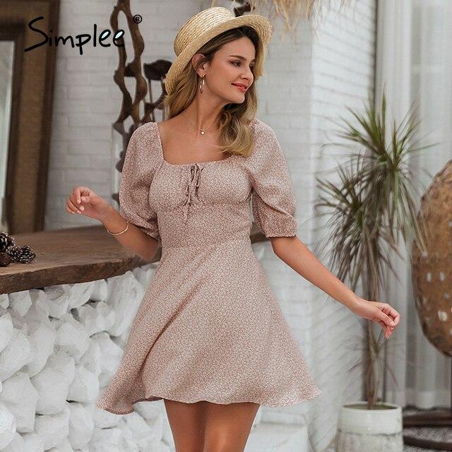 Simple Elegant square collar summer chiffon ruffled boho dress  3