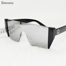 Oversized Shield Square Sunglasses Women Flat Silver Mirror