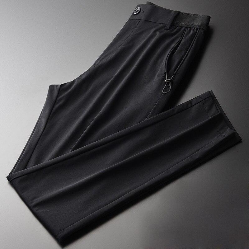 Été hommes T-shirts de luxe affaires mode noir mince homme pantalon de haute qualité doux soyeux homme pantalon costume pantalons décontractés
