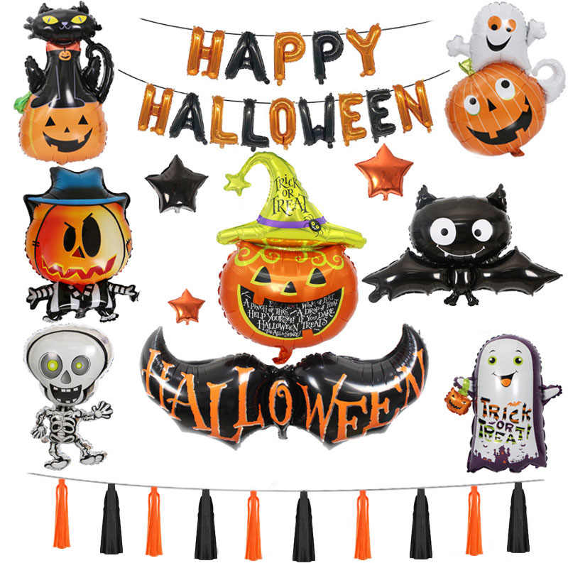 Halloween ballons set Hotel Mall Decoration Pumpkin Ghost Bats Aluminium Balloons party ballon sets have ribbon and tape
