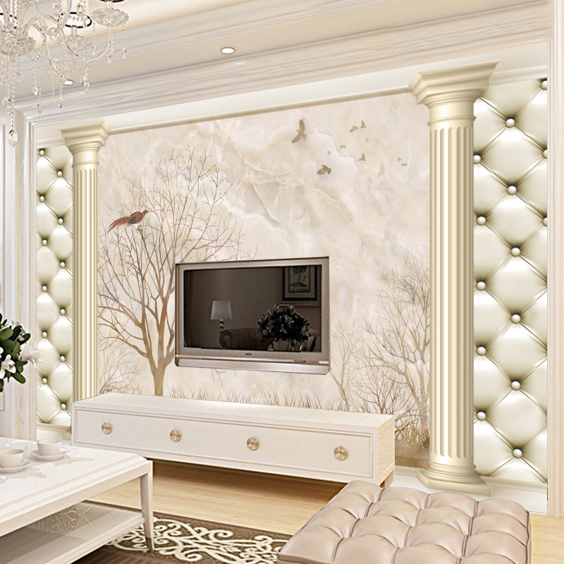 Seamless Large Mural 3D Background Of Television In The Drawing Room Wallpaper Mural Wallpaper Soft Bag