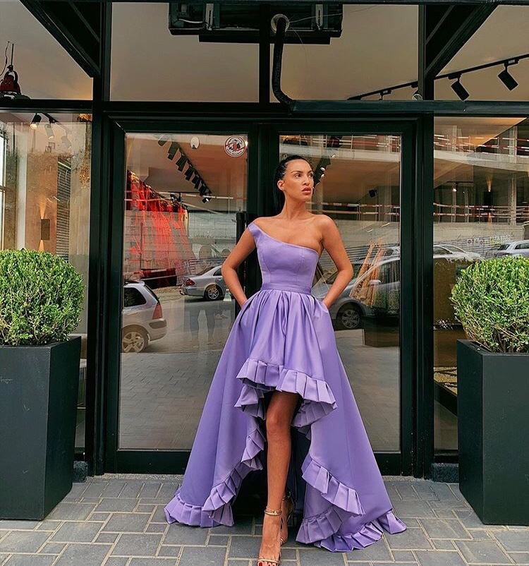 One Shoulder High Low   Prom     Dresses   2019 New Lavender Satin Evening Party Gowns Short Front Long Back Ruffles Edge   Prom   Gowns