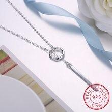 Lekani-collar de cadena larga para mujer, de tira circular, joyería de plata de ley 925, Gargantilla Kolye, Bijoux, S-n51