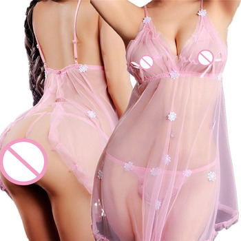 High Quality Hot Sale Ladies Flower Print Nightwear Costume Porno Sexy Women Lace Lingerie Transparent Exotic Babydoll Sleepwear