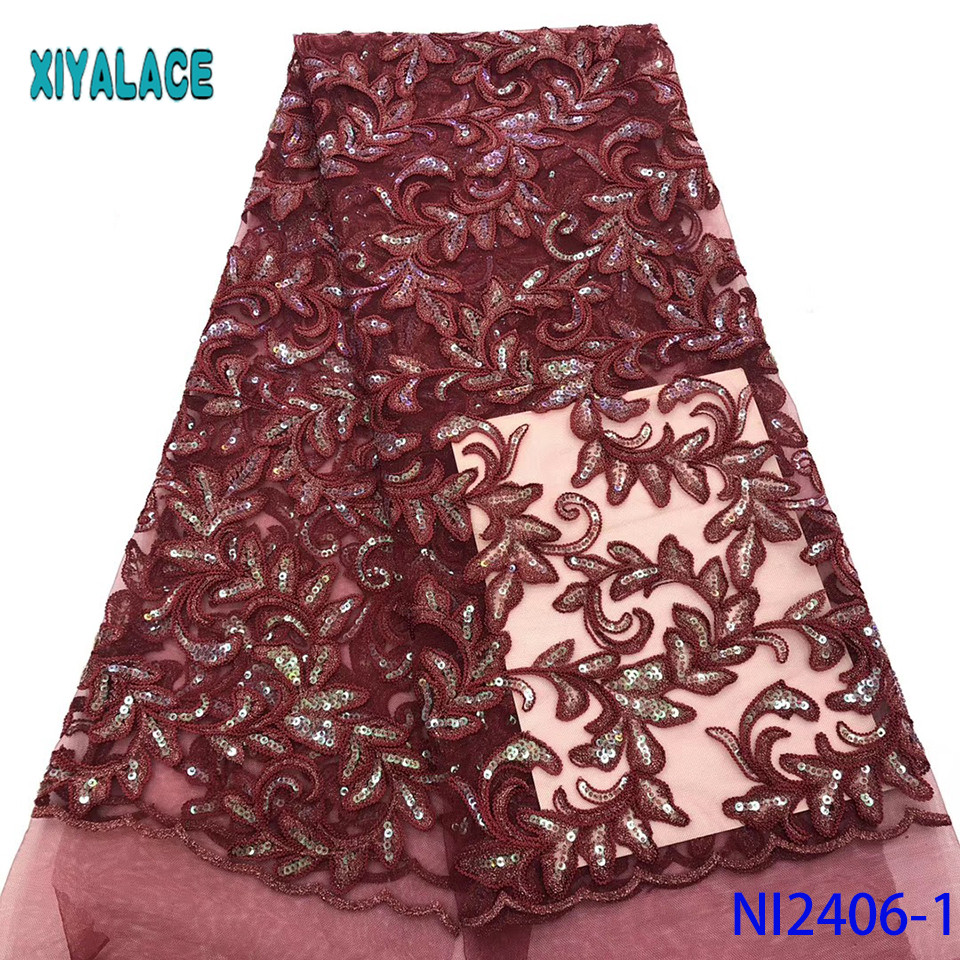 High Quality Most Popular New Style African Lace Fabric Sequins Applique Lace For Wedding Bridal Dress Lace Fabric YANI2406B-1