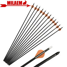 6/12pcs 32.5inch Archery Pure Carbon Arrow Spine 400 ID 6.2mm Replace Arrow Point Compound Recurve Hunting Shooting Accessories