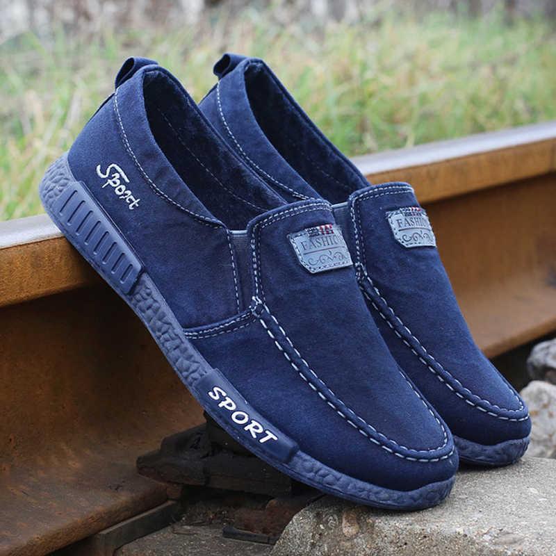 2020 erkekler sneakers düz erkekler kanvas ayakkabılar bahar Denim ayakkabı nefes alan günlük ayakkabılar loafer'lar Chaussure Homme büyük boy 38 - 46