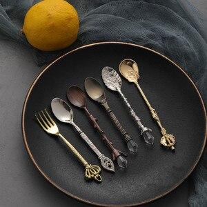 6pcs Vintage Spoons Fork Mini Royal Style Metal Gold Carved Coffee Snacks Fruit Prikkers Dessert Fork Kitchen Tool Teaspoon