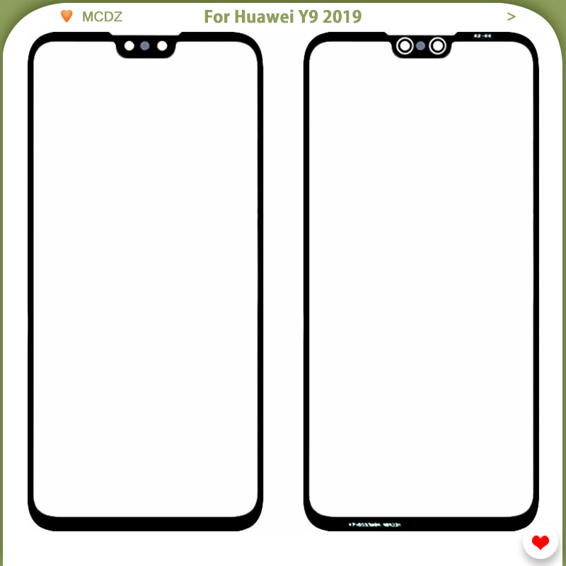 New Y9 2019 Front Panel For Huawei Y9 2019 Enjoy 9 Plus Phone Touch Screen Glass Panel Lens