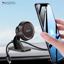 Yesido manyetik araç telefonu tutucu iPhone Samsung için 360 derece GPS manyetik cep telefonu standı hava firar dağı araç tutucu ve kablo