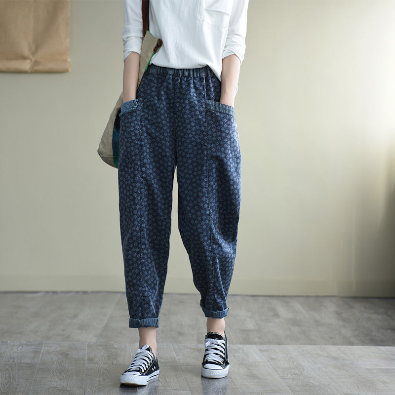 2020 New Arts Style Women Elastic Waist Loose Vintage Print Jeans All-matched Casual Cotton Denim Harem Pants Top Quality S713