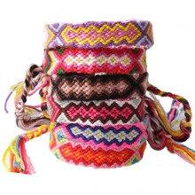 boho cotton cord pull slipknot braided friendship bracelet macrame surf