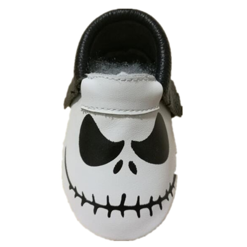 Halloween Skull And Pumpkin Baby Boys Girls Moccasins Baby Genuine Leather First Walker Shoes Baby Casual Shoes For Easter Day