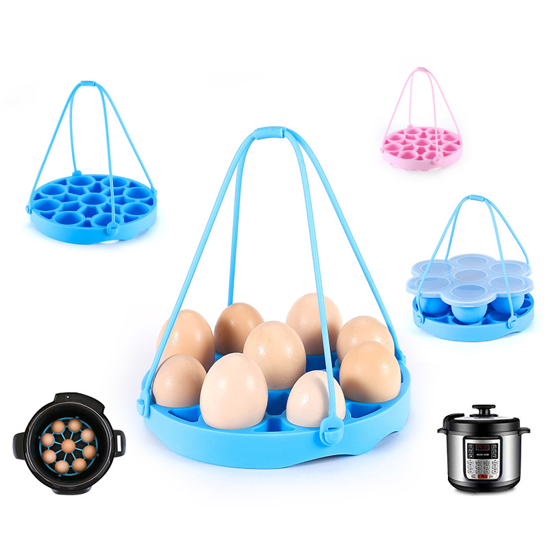 Silicone Eggs Steamer Rack Pad Food Grade Poaching Holder 9 Eggs Trays With Long Handle Eggs Cooking Tools For Kitchen Gadget