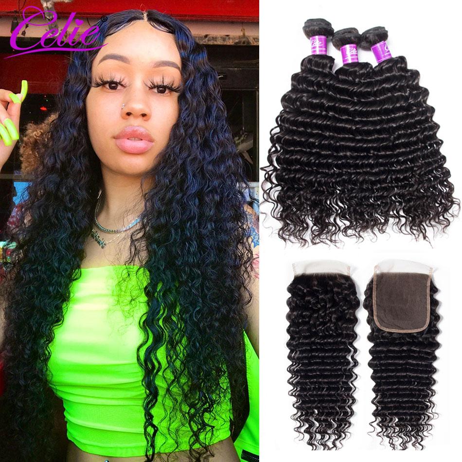 Celie волосы 5X5 закрытие с пряди бразильские вьющиеся человеческие волосы 3 пряди с 6x6 Закрытие глубокая волна пряди с закрытием