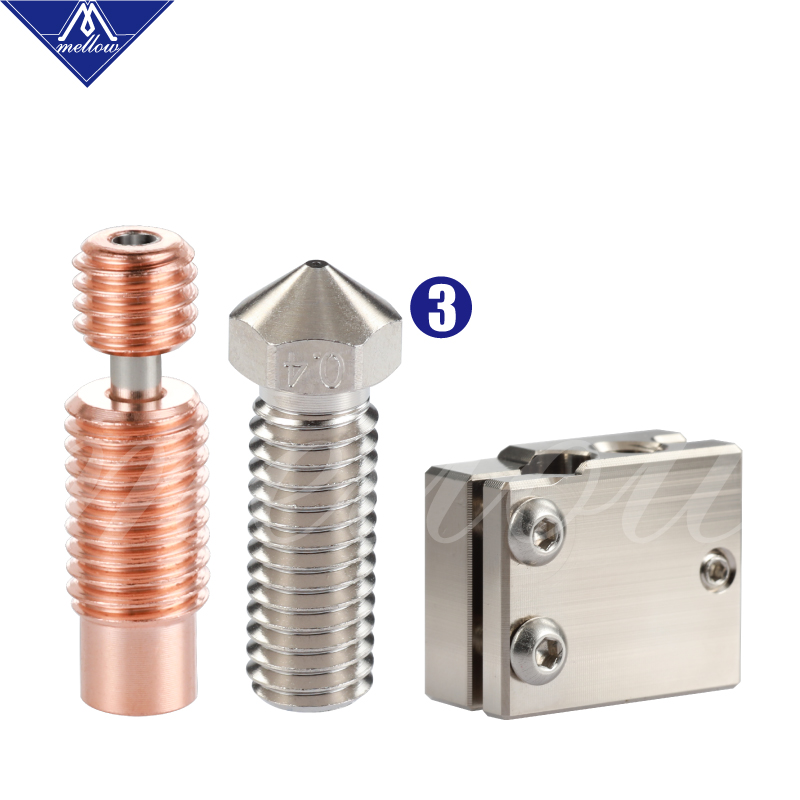 lowest price Mellow 3D Printer Volcano Heater Block   Volcano Nozzle   V6-Crazy Bimetal Heat Break For E3D J-Head Hotend Bmg Aero Extruder