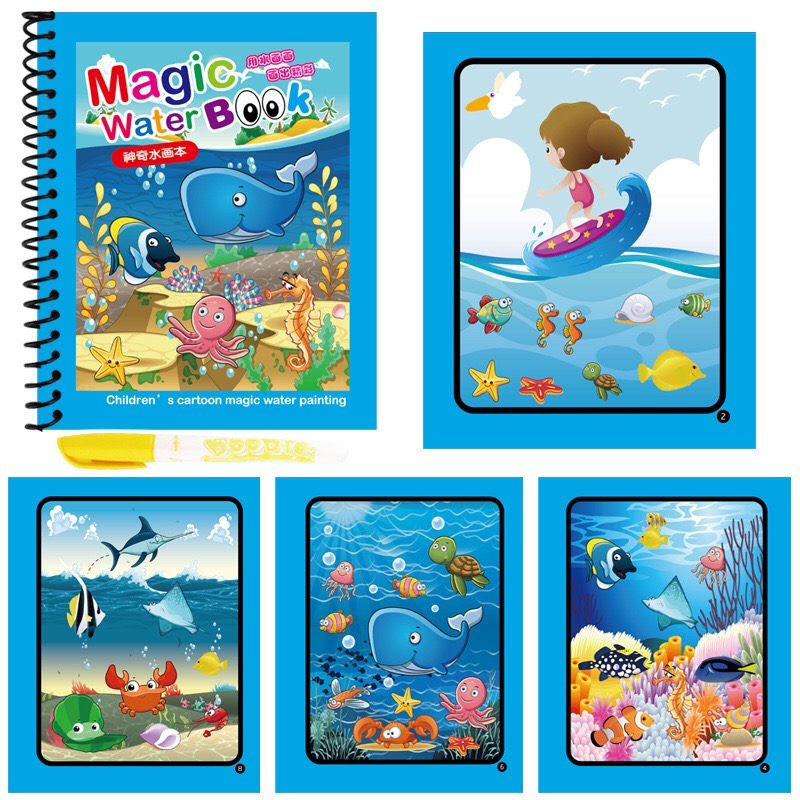 8 Styles Magic Water Drawing Book Coloring Doodle & Magic Pen Drawing Toys For Kids Birthday Gift Early Education