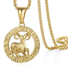 Zodiac Sign Necklace Party Jewelry Gifts Men Pendant Women Yellow Gold for Male Fashion