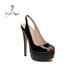 Single Rose Women #8217 s Peep Toe Thin High Heels Pumps Sandals Gold Ladies Shoes 15cm Heels open toe fashion female heel shoes G13 cheap Slingbacks Spike Heels Super High (8cm-up) Fits true to size take your normal size Concise Platform Casual Summer Rubber