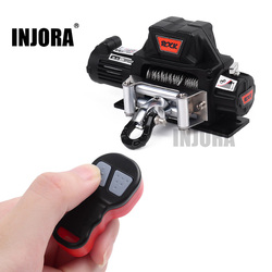 INJORA Metal Automatic Winch Wireless Remote Controller System for 1:10 RC Crawler Car Axial SCX10 90046 Traxxas TRX4 Redcat