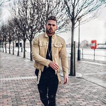 Men Solid Colour Denim Jacket Fashion Korean Streetwear Style Mens Jackets Cotton Casual Zipper Cardigan Chaquetas Hombre 2019