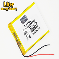 3 7 V 2200mAh polímero de litio LiPo batería recargable células de PAD GPS video juego de e-book Tablet PC 356075 banco de potencia