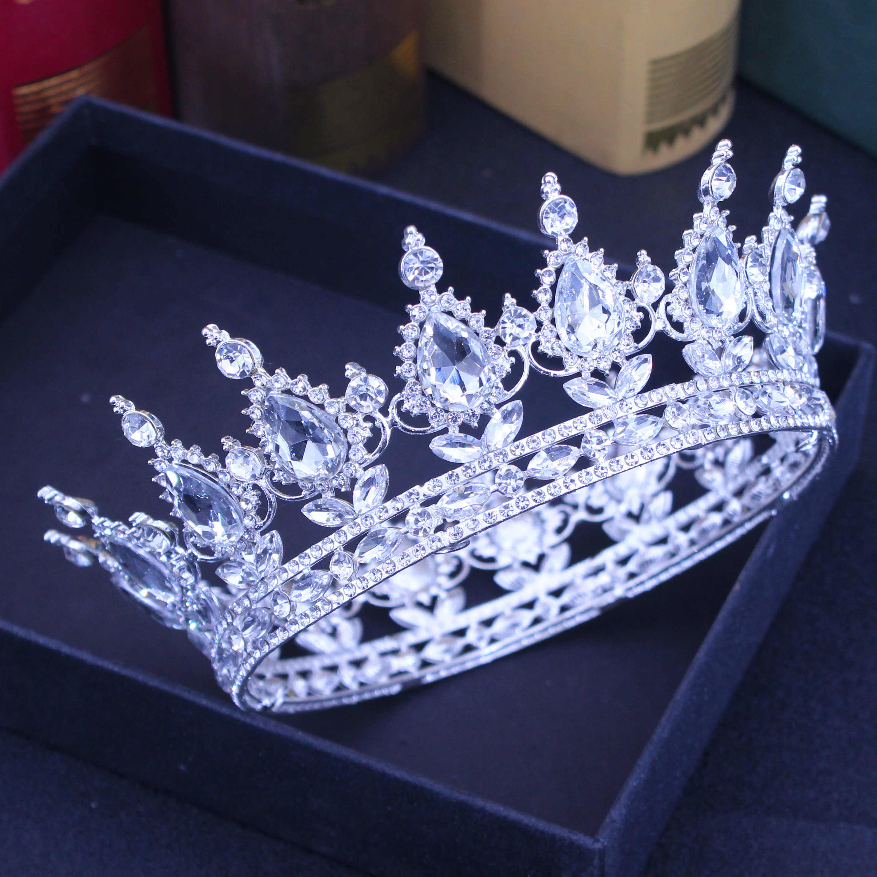 Queen Re Wedding Tiara Crown Vintage Nuziale Di Cristallo Diadema Donne/Uomini Ornamenti Per Capelli di Strass Sposa Accessori Gioielli Testa
