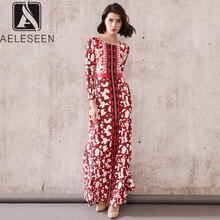 AELESEEN 2020 New Runway Print Floor Length Dresses Women Elegant Floral Chest Printed European Vintage Elastic Long Dress