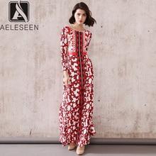 AELESEEN 2020 מסלול חדש הדפסת באורך רצפת שמלות נשים אלגנטי פרחוני חזה מודפס אירופאי בציר אלסטי ארוך שמלה