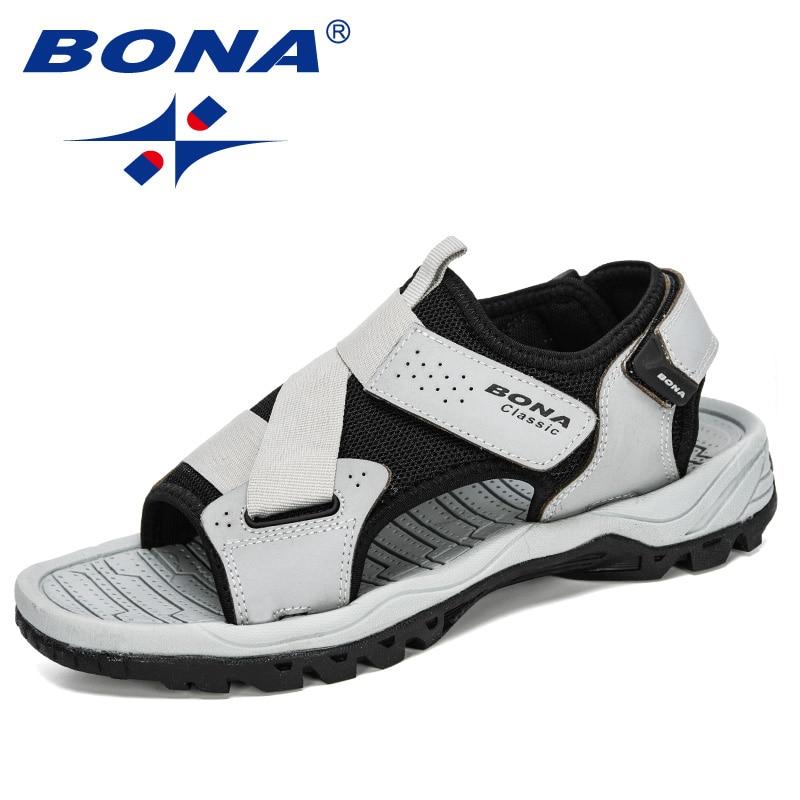 BONA 2020 New Designers Action Leather Sandals Comfortable Man Shoes Fashion Sandalia Masculina Casual Flip Flops Flat Sandals