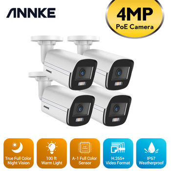 ANNKE 4MP Ace Full Color Night Vision POE IP Camera H.265+ Video Surveillance Cameras Warm Light Security Camera CCTV Camera Kit 1