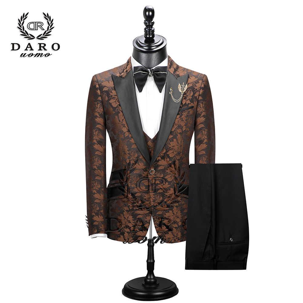 2020 Neue Männer Anzug 3 Stück smoking Slim Fit rot kaffee blau für Hochzeit Kleid Anzüge Blazer Hose und Weste DR8228