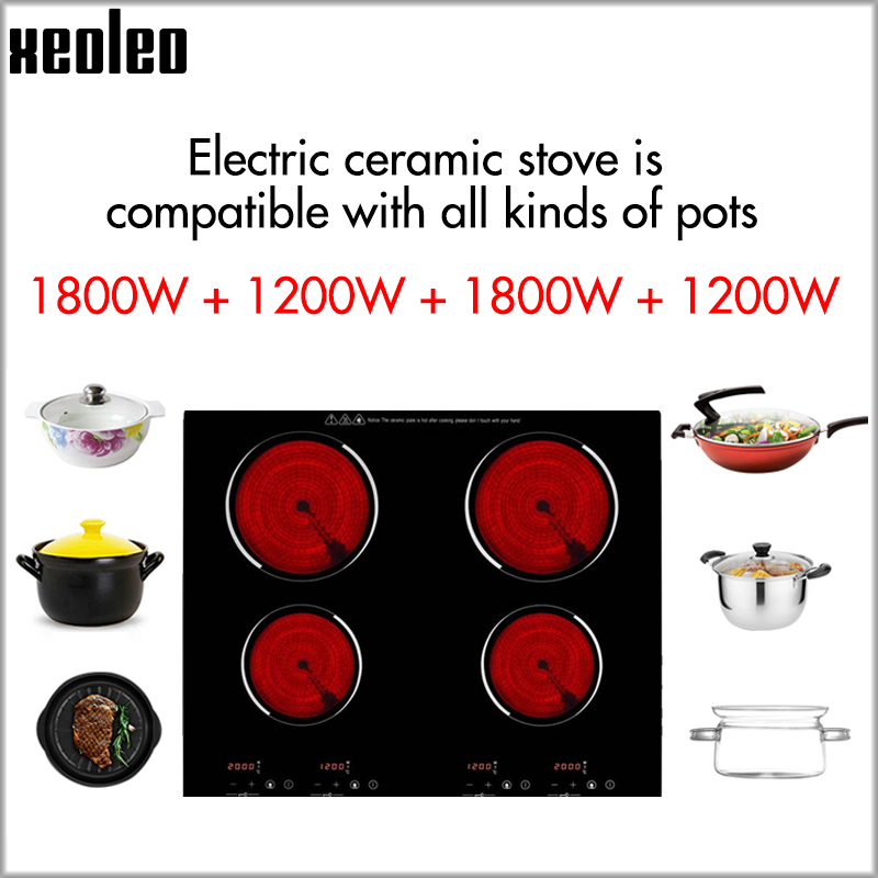 XEOLEO Home Use Built-in Electric Ceramic Cooker Induction Cooker 1200W+1800W Four Burner Electric Hob With Timing Ceramic Stove